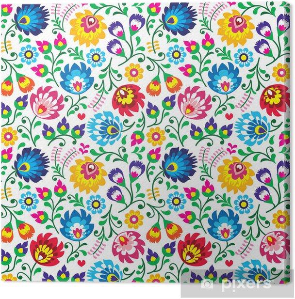 Seamless Polish folk art floral pattern Canvas Print - Flowers
