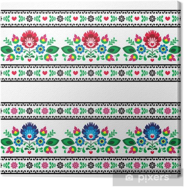 Seamless Polish folk pattern with flowers Canvas Print - Styles