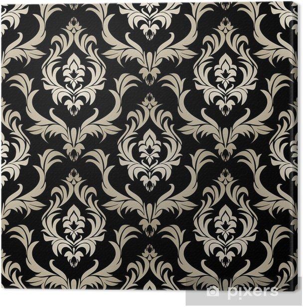 Seamless Retro Damask Wallpaper Silver Floral Ornament On Black