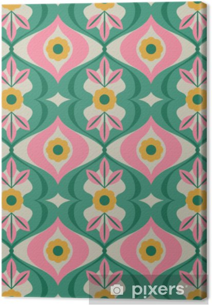 seamless retro pattern with flowers and leaves Canvas Print - Graphic Resources