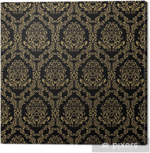Seamless retro wallpaper in victorian style: gold on black. Canvas Print - Backgrounds
