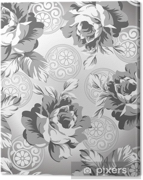 Seamless Silver Rose Flower Background Canvas Print
