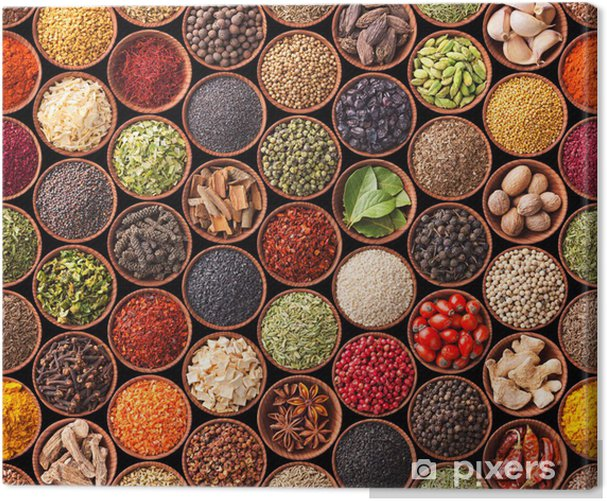 Seamless texture with spices and herbs Canvas Print - iStaging