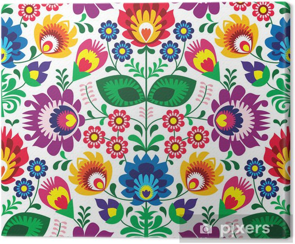 Seamless traditional floral polish pattern - ethnic background Canvas Print - Styles