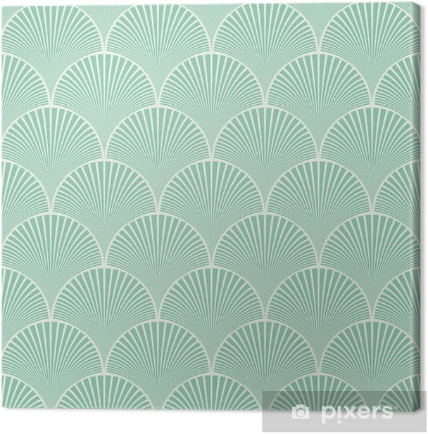 Seamless turquoise japanese art deco floral waves pattern vector Canvas Print - Abstract