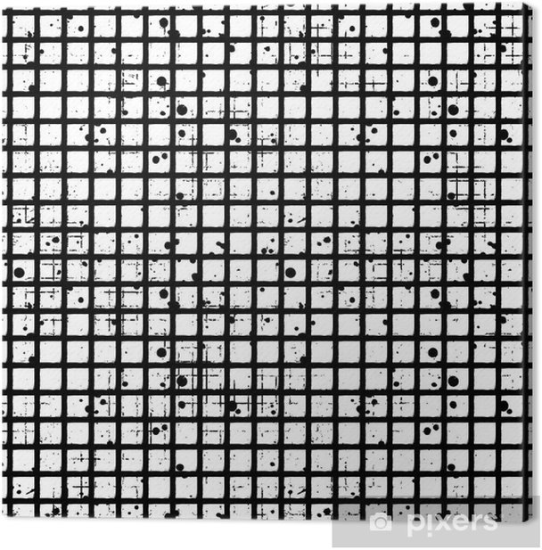 Seamless vector checkered pattern. Creative geometric black and white background with squares. Grunge texture with attrition, cracks and ambrosia. Old style vintage design. Graphic illustration. Canvas Print - Graphic Resources