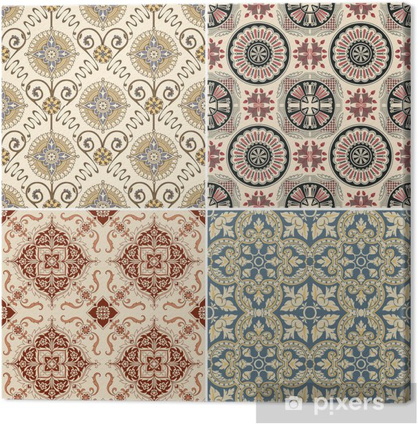Seamless Vintage Background Collection - Victorian Tile in vecto Canvas Print - Tiles