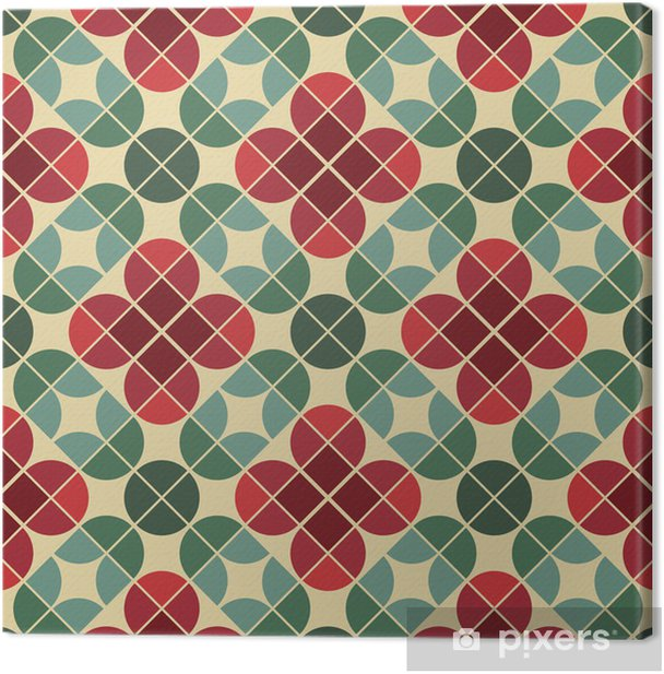 Seamless vintage tiles background with stylized flowers. Canvas Print - Styles