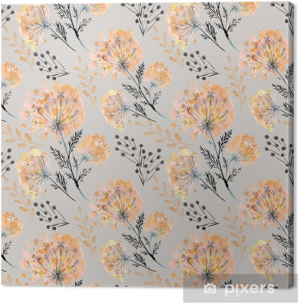 Seamless watercolor floral pattern . Yellow orange flowers on a light background. Canvas Print - Graphic Resources