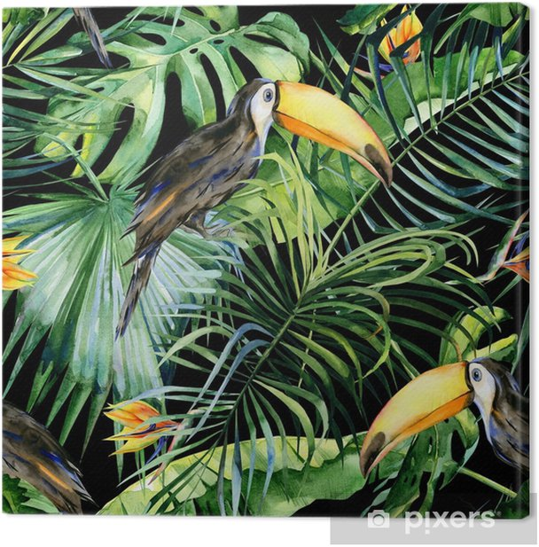 Seamless watercolor illustration of toucan bird. Ramphastos. Tropical leaves, dense jungle. Strelitzia reginae flower. Hand painted. Pattern with tropic summertime motif. Coconut palm leaves. Canvas Print - Animals