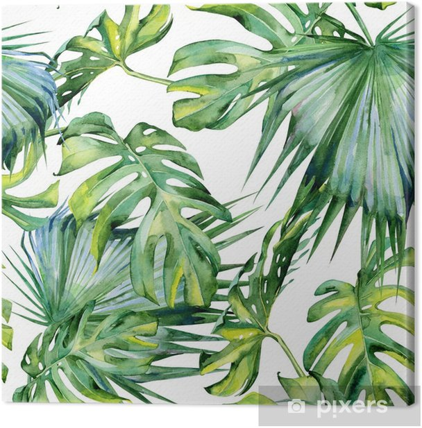 Seamless watercolor illustration of tropical leaves, dense jungle. Hand painted. Banner with tropic summertime motif may be used as background texture, wrapping paper, textile or wallpaper design. Canvas Print - Plants and Flowers