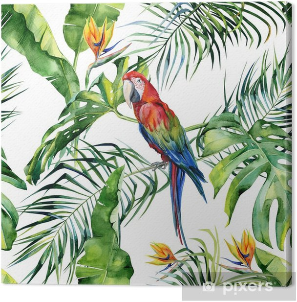 Seamless watercolor illustration of tropical leaves, dense jungle. Scarlet macaw parrot. Strelitzia reginae flower. Hand painted. Pattern with tropic summertime motif. Coconut palm leaves. Canvas Print - Graphic Resources