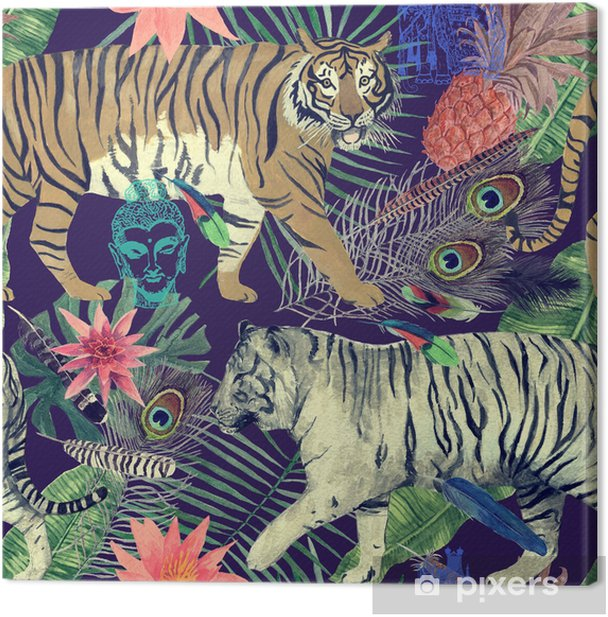 Seamless watercolor pattern with tigers, leaves, feathers,. Canvas Print - Graphic Resources