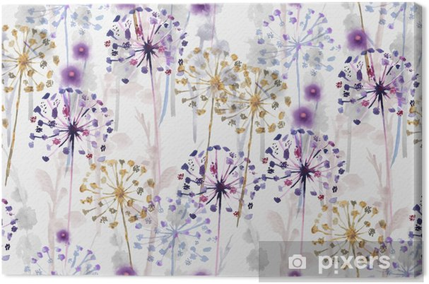 Seamless Watercolor Wild Floral Pattern In Hand Painting Style Delicate Flower Wallpaper Canvas Print