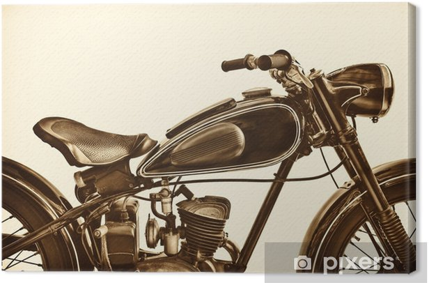 Sepia toned image of a vintage motorcycle Canvas Print - Transport