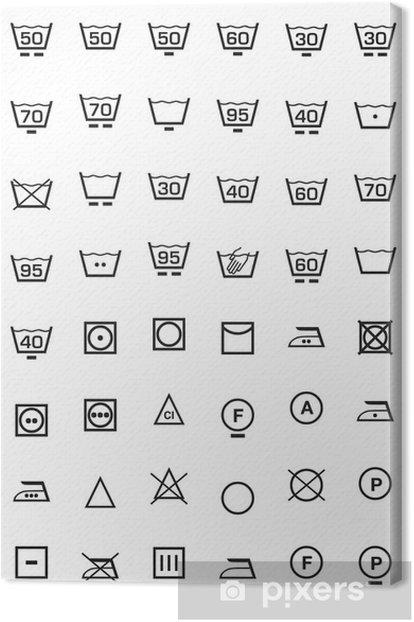 set icone lavaggio e lavatrice Canvas Print - Signs and Symbols