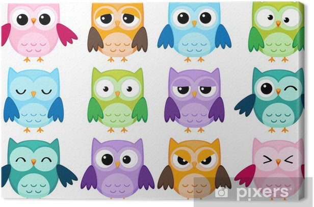 Set of 12 cartoon owls with various emotions Canvas Print - Destinations