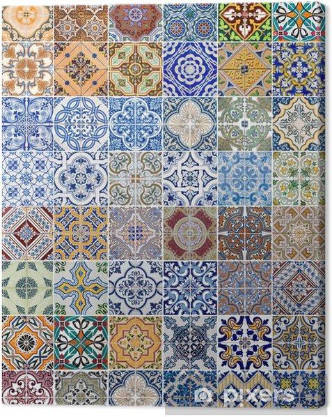 Set of 48 ceramic tiles patterns Canvas Print - Textures