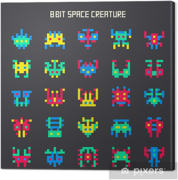 set of 8-bit color space monsters Canvas Print - Signs and Symbols