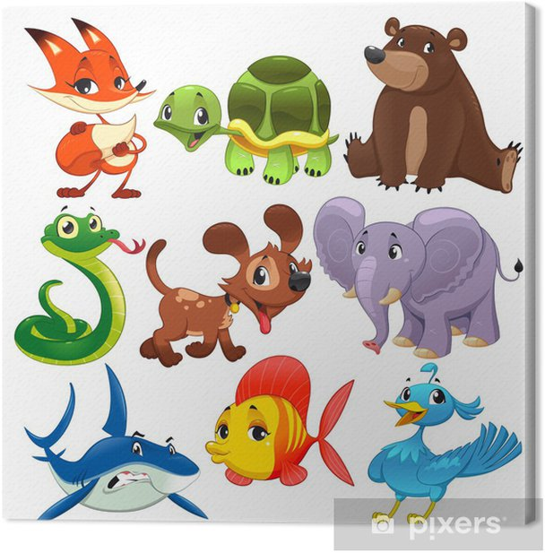 Set of animals. Cartoon and vector isolated characters. Canvas Print - Wall decals
