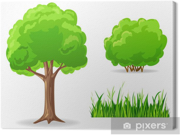 tree grenn grass wall print art