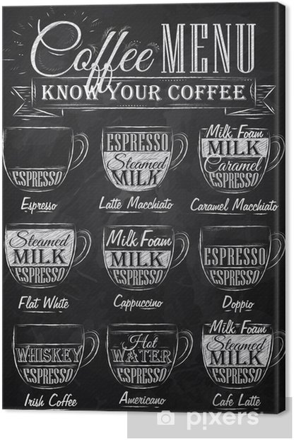 Set of coffee menu with a cups of coffee chalk Canvas Print - Cafe