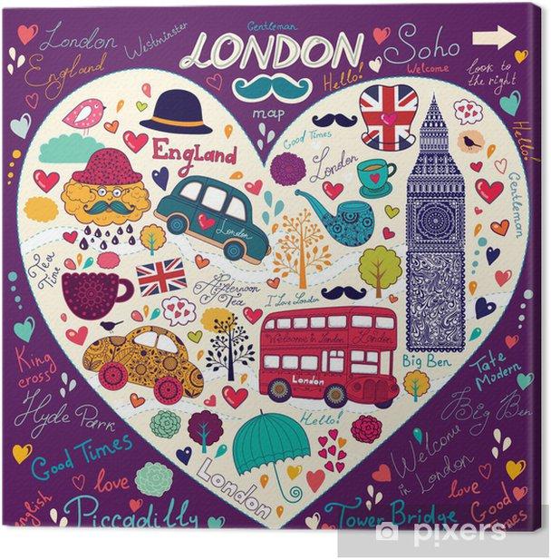 Set of London symbols Canvas Print - European Cities