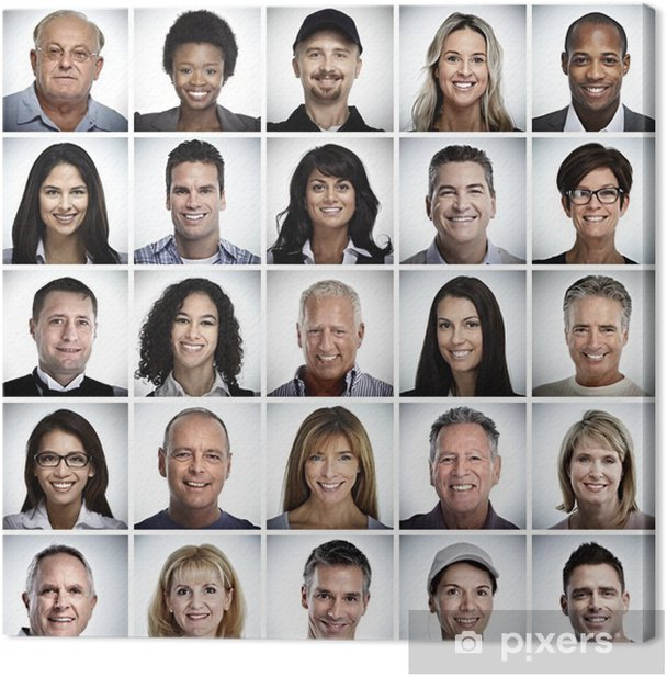 Set of smiling people face. Canvas Print - People
