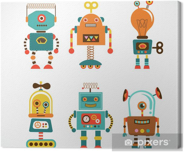 Set of vintage robot icons Canvas Print - Styles