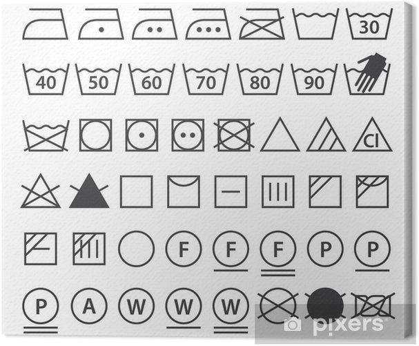 Set of washing symbols (Laundry icons) Canvas Print