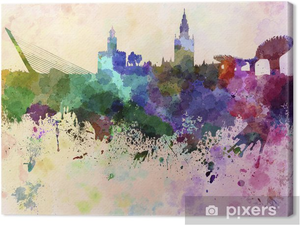 Seville skyline in watercolor background Canvas Print - Themes