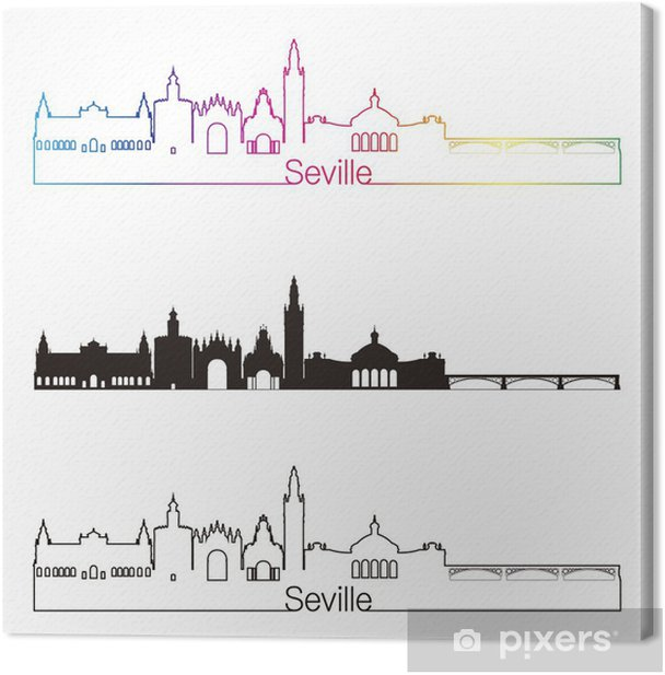 Seville V2 skyline linear style with rainbow Canvas Print - Urban