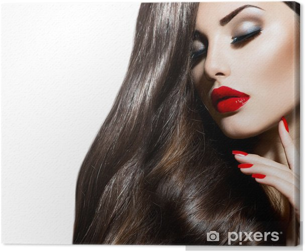 Sexy Beauty Girl with Red Lips and Nails. Provocative Makeup Canvas Print - Fashion