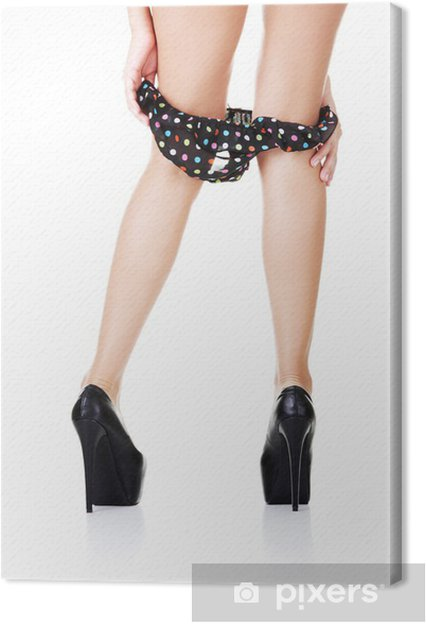 Sexy long legs in black high heels and panties down Canvas Print ... 3585162eff5a