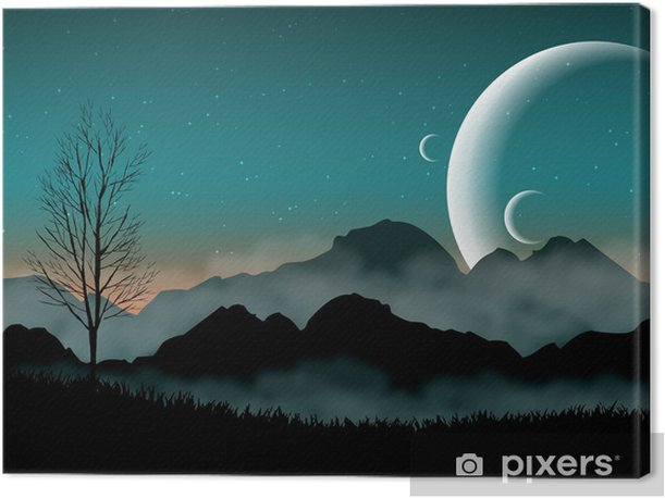 SF space night sky with silhouette mountains and close planets Canvas Print - Destinations