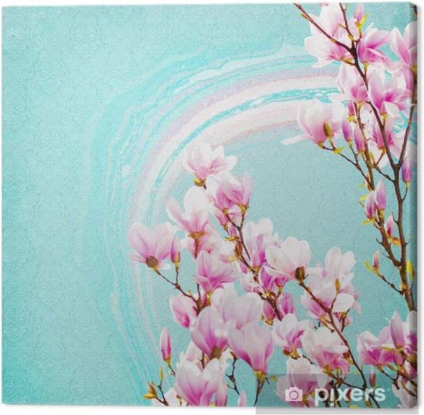 Shabby Chic Background With Magnolia Canvas Print