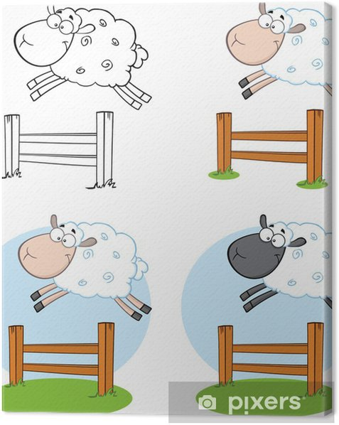 Sheep Cartoon Characters Jumping Over A Fence.Collection Set Canvas Print - Happiness