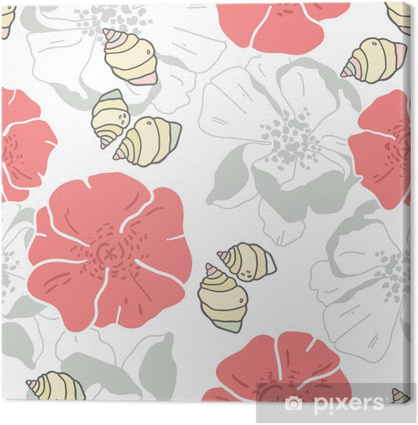 shells and flowers seamless patern background Canvas Print - Backgrounds
