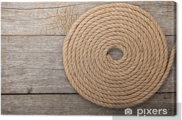 Ship rope on wooden texture background Canvas Print - Oceania