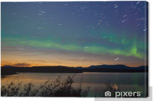 Shooting star meteor Aurora borealis Northern lights Canvas Print - Wonders of Nature