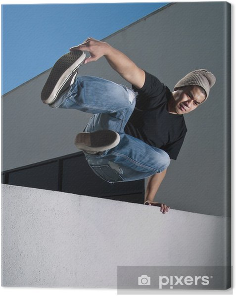 side view of parkour jump Canvas Print - Individual Sports