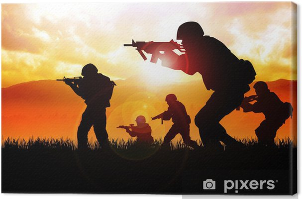 Silhouette illustration of soldiers on the field Canvas Print - Themes