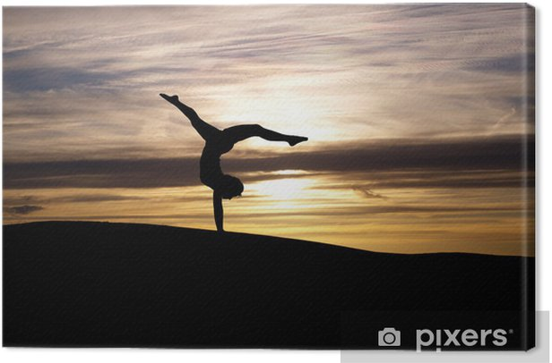 silhouette of gymnast in sunset Canvas Print - Art and Creation
