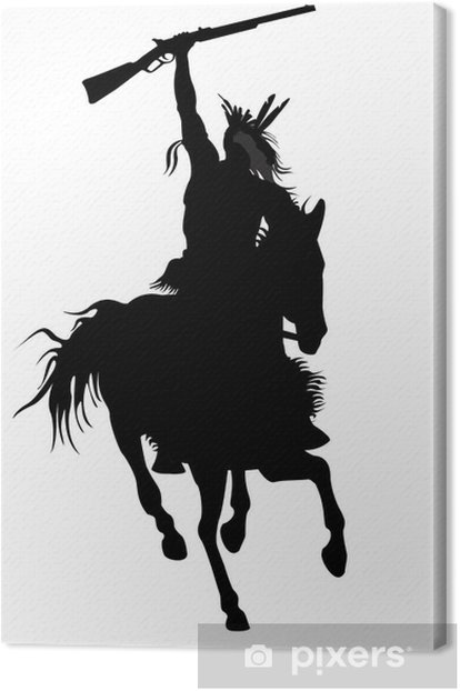 silhouette of indian warrior on a horse with a weapon Canvas Print - Entertainment