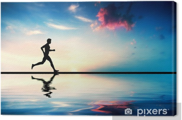 Silhouette of man running at sunset. Water reflection Canvas Print - Health