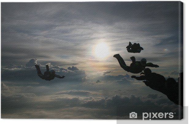 Silhouette Skydivers Canvas Print - Individual Sports