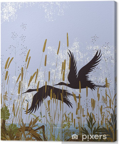 Silhouettes of two birds flying over a lake Canvas Print -
