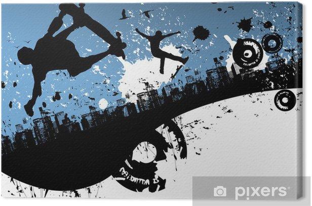 Skateboard city background Canvas Print - Skateboarding