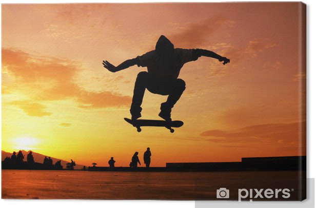 Skateboard Silhouette Canvas Print - Skateboarding