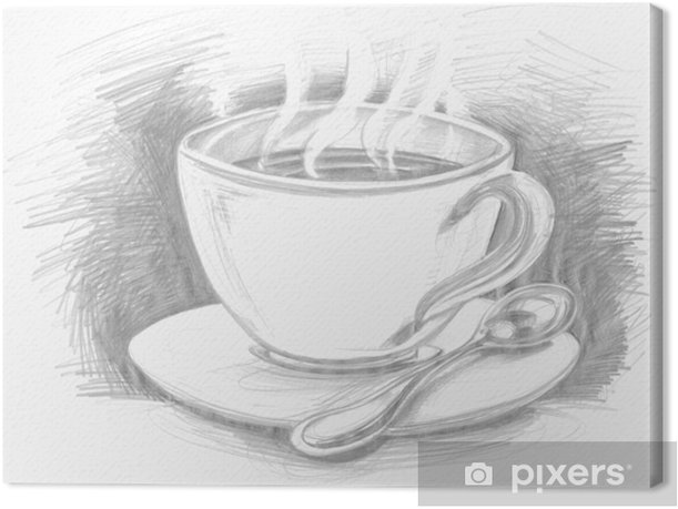 sketch cup of coffee or tea Canvas Print - Accessories